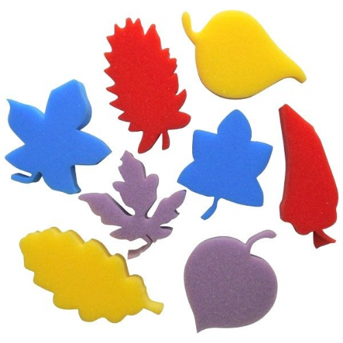 Sponge Painting Shapes - Leaves